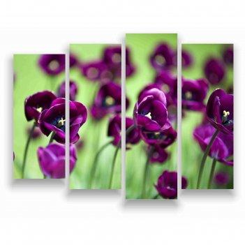 Модульная картина на экокоже фиолетовые цветы 1шт.-25х80, 2шт.-25х70, 1шт.