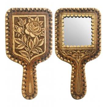 Bst-329/ 1 зеркало с ручкой роза (береста)