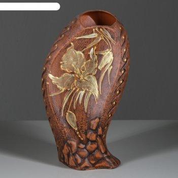 Ваза форма волна малая, красная глина