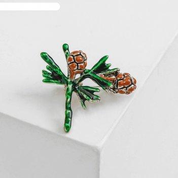 Брошь шишки, цвет коричнево-зеленый в черненом серебре