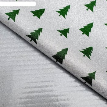 Плёнка упаковочная, зеленые «елки», 50 x 70 см