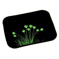 Коврик противоскользящий 10х11см, цветы на черном фоне, блистер
