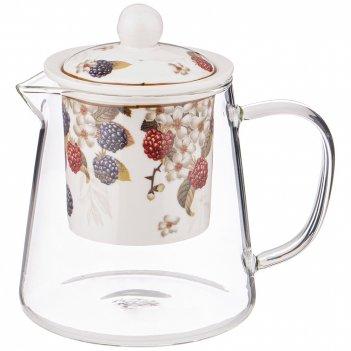 Чайник стеклянный с ситом  lefard ежевика 500 мл (кор=36шт.)