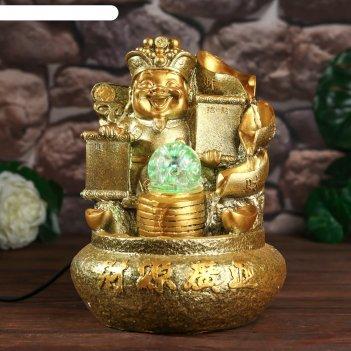 Фонтан настольный от сети, подсветка весёлый хотей золото 26х18х17 см