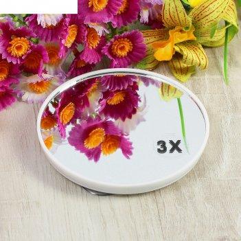 Зеркало для макияжа, с увеличением x3, круглое, d=10см, на присосках