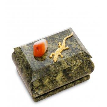 Nst-06 шкатулка ящерка агама (змеевик, сердолик)