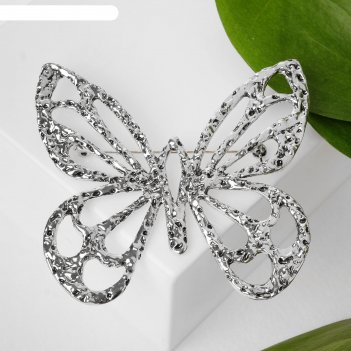 Брошь крупная бабочка, цвет серебро