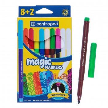Фломастеры 10 цветов centropen 2549/08 magic, меняют цвет, 8 цветов + 2 по