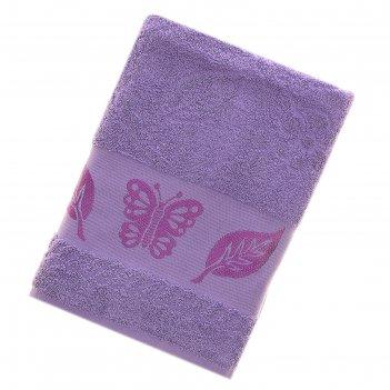 Полотенце махровое fiesta cotonn butterfly 70*140см сиреневый 500гр/м, хло