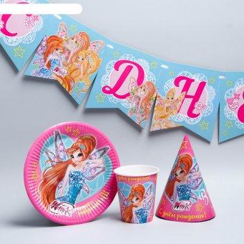 Набор  бумажной посуды  с днем рождения!, феи винкс, на 6 персон
