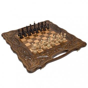 Шахматы + нарды резные антемион 60 с ручкой