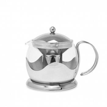 Чайник заварочный, объем: 660 мл, материал: нержавеющая сталь, стекло, сер