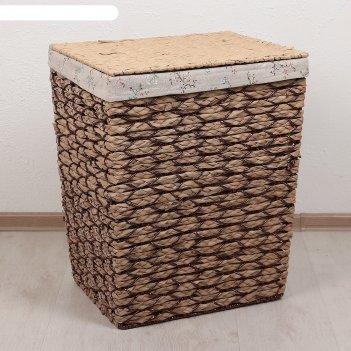 Корзина для белья плетеная прямоугольная соты 43х35х54 см