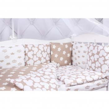 Комплект в кроватку soft, 15 предметов, бязь, коричневый