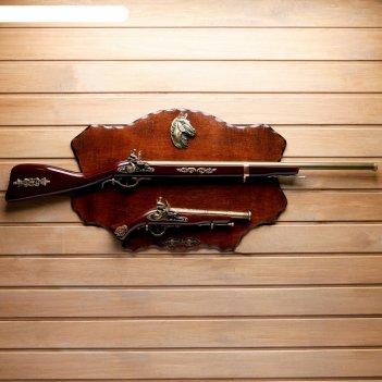 Сувенирное изделие мушкет, ружье на планшете с конем