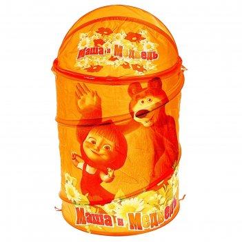 Корзина для игрушек маша и медведь с крышкой и ручками, цвет оранжевый