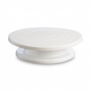 Подставка для торта, диаметр: 28,5 см, материал: пластик, цвет: белый, сер