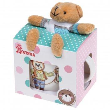 Кружка детская в подарочной коробке с игрушкой мишка-ковбой