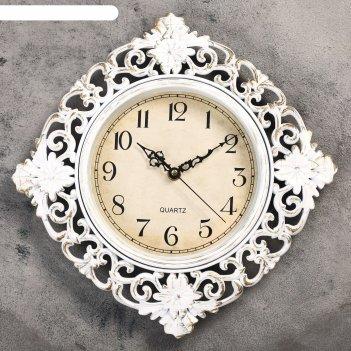 Часы настенные серия жанна, витиеватые кремовые, ретро циферблат d=30см, 3
