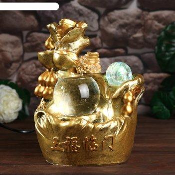 Фонтан настольный от сети, подсветка жаба и хулу золото 26х18х17 см