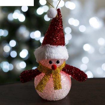 Игрушка световая снеговик новогодний (батарейки в комплекте) 7х15 см, 1 le