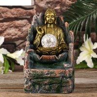 Фонтан настольный от сети, подсветка будда с лотосом золото 26х15,5х13,5 с