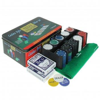 Покер, набор для игры (карты 2 колоды, фишки 200 шт б/номин, сукно 60х90 с