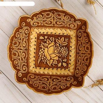 Конфетница «розочка», 15x16x6 см, береста