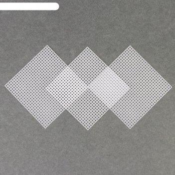 Канва для вышивания «квадрат», 10,5 x 10,5 см, 3 шт, цвет белый