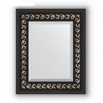 Зеркало с фацетом в багетной раме - черный ардеко 81 мм, 45 х 55 см, evofo