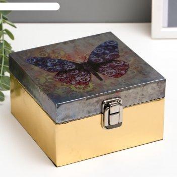 Шкатулка дерево бабочка с шестерёнками кожзам глянец 8х14х14 см