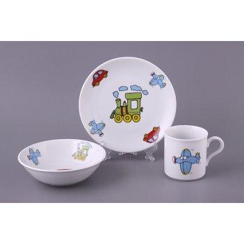Набор посуды 3 пр.: тарелка, миска, кружка диаметры=19/16 см. 250 мл