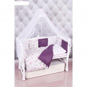 Комплект в кроватку premium «амели», 18 предметов, бязь, вишня/белый