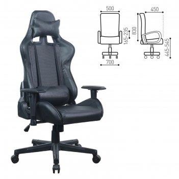 Кресло для геймеров brabix gt carbon gm-115, две подушки, экокожа, черное,