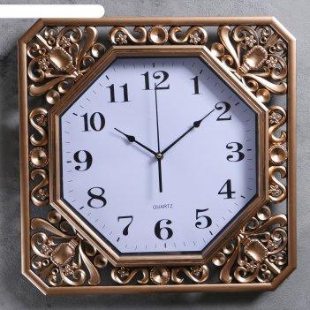 Часы настенные, серия: классика, атлас, бронзовые, 40х40 см