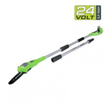 Высоторез – сучкорез аккумуляторный 20 см greenworks 24v g24ps20, садовая