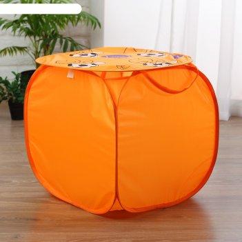 Корзина для игрушек баскетбол с ручками и крышкой, цвет оранжевый