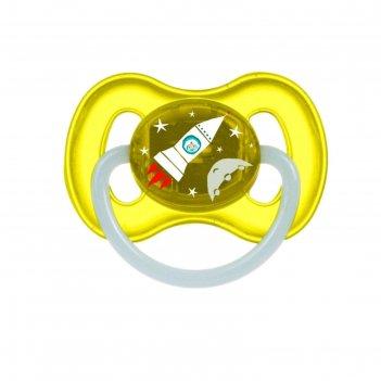 Пустышка латексная canpol babies space, круглая, от 0-6 месяцев, цвет жёлт