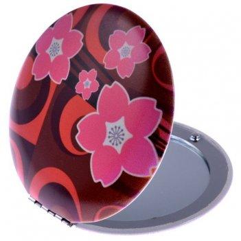 Зеркало ec mr 023 компактное в металл корпусе, круглое, цветы