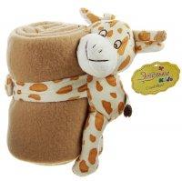 Набор подарочный этелька 2 предмета жираф-погремушка, плед 75х100 см, флис