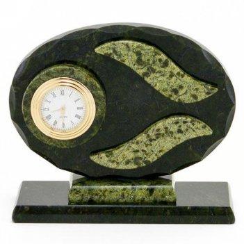Настольные часы овальные камень змеевик