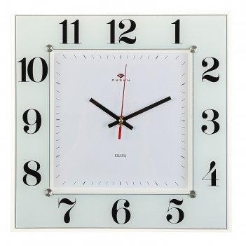 Часы настенные, серия: классика, классика, 31х31 см стекло, белые рубин