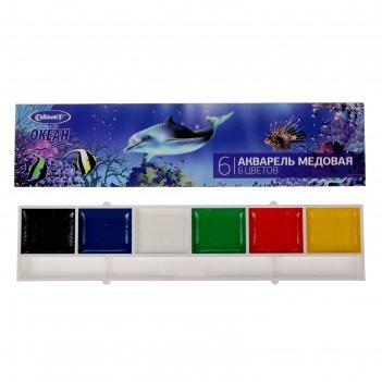 Акварель медовая cullinan «океан», 6 цветов, в картонной коробке, без кист