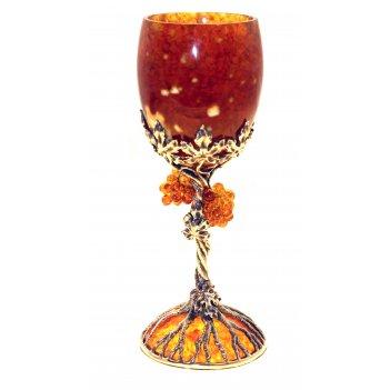Бокал для вина виноград из янтаря на 1 персону (ювелирная бронза)