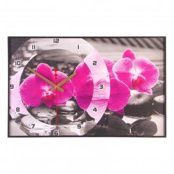 Часы настенные, серия: цветы, магия орхидей, 37х60  см, микс
