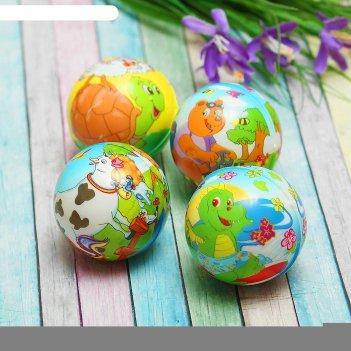 Мяч с картинками птиц и животных, цвета микс