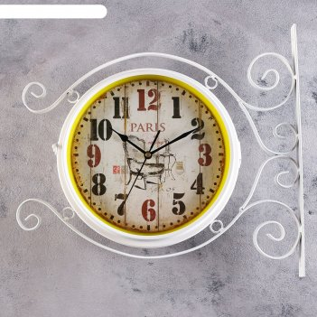 Часы настенные двойные, серия: садовые, плезанс, белые  d=24 см, 38х42 см