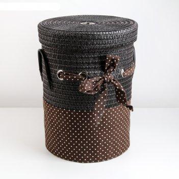 Корзина для белья плетеная круглая грей, цвет коричневый 32,5х32,5х41,5 см