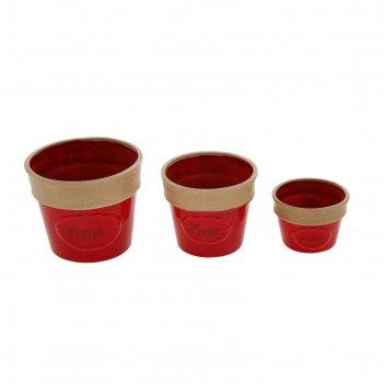 Набор кашпо дом 3 шт (11x8,14x12,17x14 см) , красный