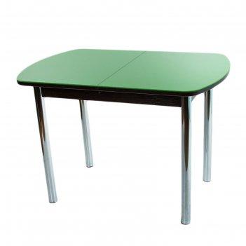 Стол раздвижной эллин венге/зеленое/хром прямые